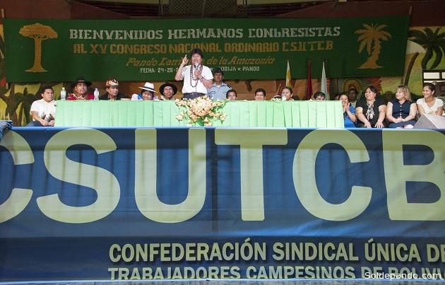 El presidente Evo Morales inagura el el XV Congreso Ordinario de la Csutcb. | Foto: ABI