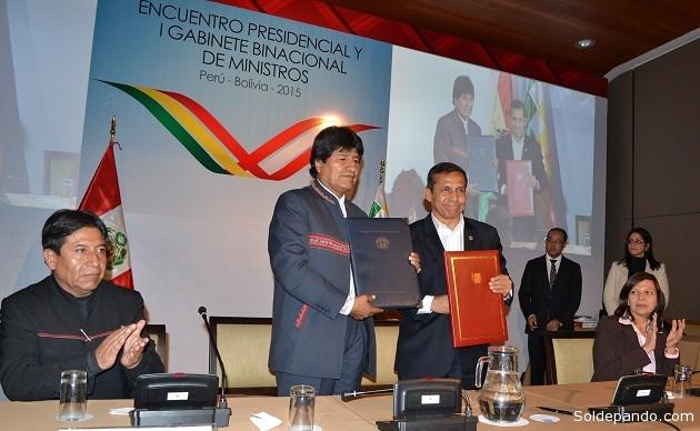Bolivia y Perú sellaron más de 90 compromisos de acción en torno a cuatro ejes.   Foto: ABI