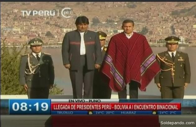 Los presidentes de Bolivia, Evo Morales, y del Perú, Ollanta Humala, se reúnen en un histórico Gabinete Binacional.  | Foto: TV Perú