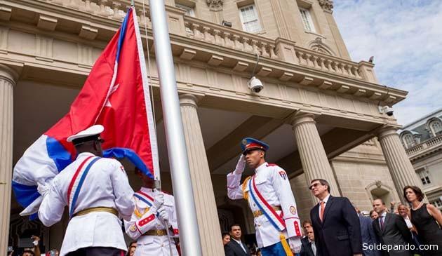 El acto de reapertura de la Embajada de Cuba en la Avenida 16 de Washington, el pasado 20 de julio, a cargo del canciller Bruno Rodríguez.   Foto AFP