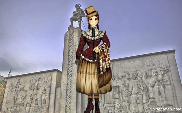 Monumento en la Plaza Alonso de Mendoza, en el centro de la ciudad, en el lugar de la fundación de Nuestra Señora de La Paz.   Fotomontaje Sol de Pando