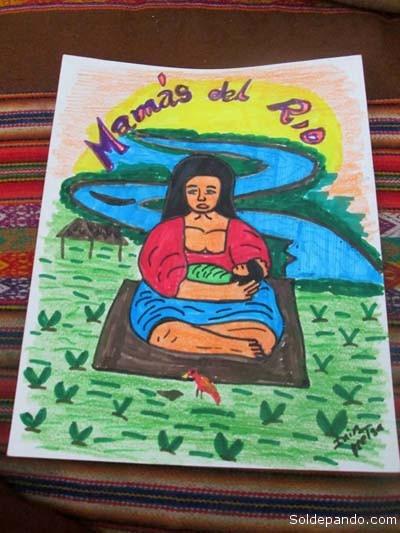 """Dibujo original que inspiró el logotipo oficial del proyecto ·Mamás del Río"""". Su autor es el pintor de la etnia shipibo Harry Pinedo (Ini Metsa).   Foto Archivo"""