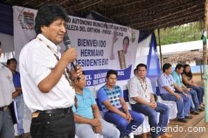 Morales comprometió financiamiento de otras obras tras concluirse esos proyectos y anunció la dotacióde un vehículo a la Alcaldía de San Pedro. | Foto Prensa GADP