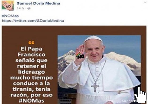 Tuit Papa Francisco diciendo NO
