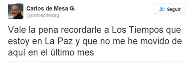 Tuit reclamo Carlos Mesa a LT