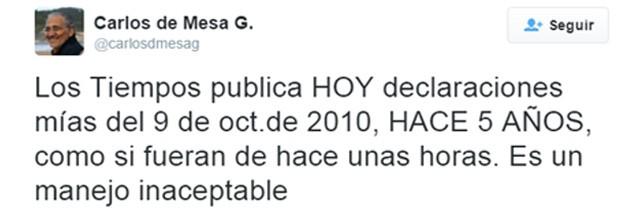 Tuit reclamo Carlos Mesa