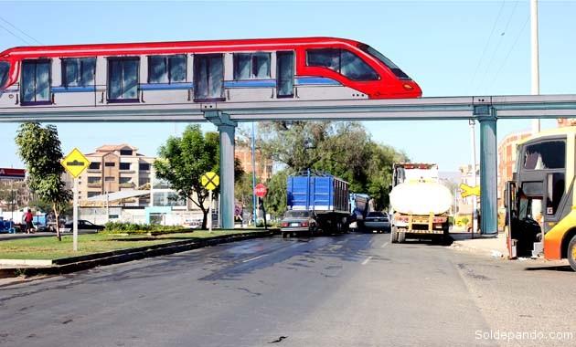 La proyectada plataforma de hormigón armado, cruza por encima de la avenida Melchor Pérez de Holguín sin afectar el transporte vehicular y creando para los pasajeros una grata visión panorámica de la ciudad. | Foto Silvia Antelo Aguilar
