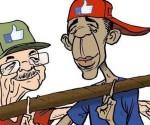 La histórica alianza entre Raúl Castro y Barack Obama según el caricaturista belga Michel Kichka.
