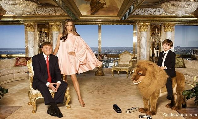 El nuevo presidente de Estados Unidos, junto a su familia, en el Penthouse de las Torres Trump, en la Quinta Avenida de Nueva York. | Foto Getti