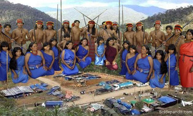 Fueron expulsados de en agosto con uso de fuerza policial. Intentan recuperar su territorio ahora ocupado por una empresa minera china | Fotomontaje Sol de Pando